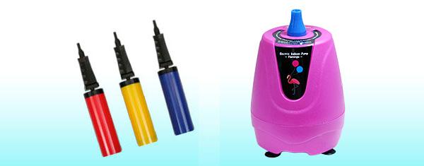 空気バルーン用電動ブロアーとハンドポンプ