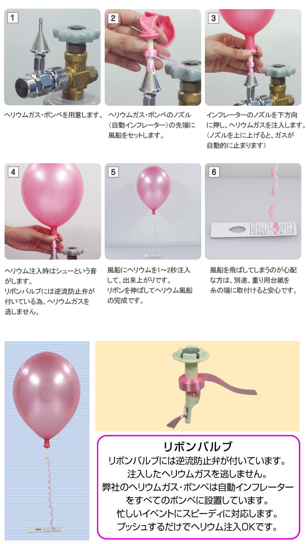 バルブつき風船の注入方法